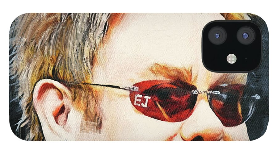 Elton IPhone 12 Case featuring the digital art Elton john classic portrait by Yury Malkov