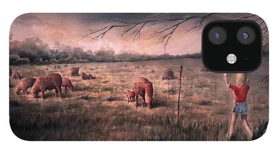 Landscape IPhone 12 Case featuring the painting A childhood by William Russell Nowicki