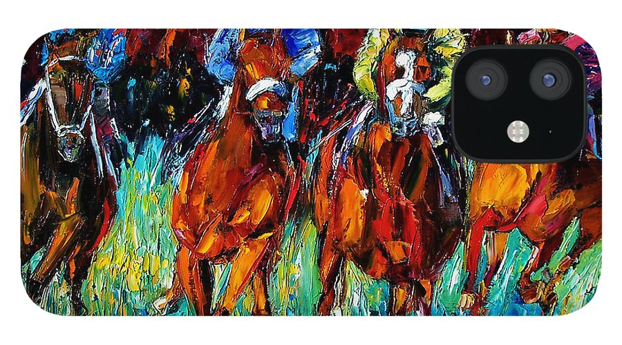 Horse Race IPhone 12 Case featuring the painting Endurance by Debra Hurd