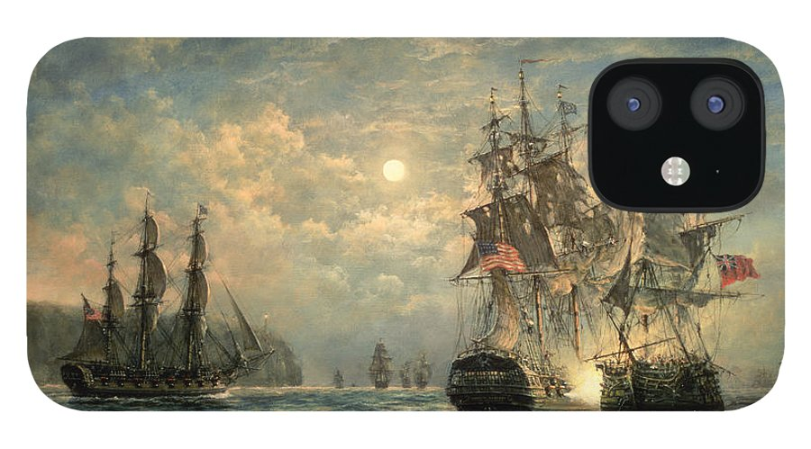 American War Of Independence IPhone 12 Case featuring the painting Engagement Between the 'Bonhomme Richard' and the ' Serapis' off Flamborough Head by Richard Willis