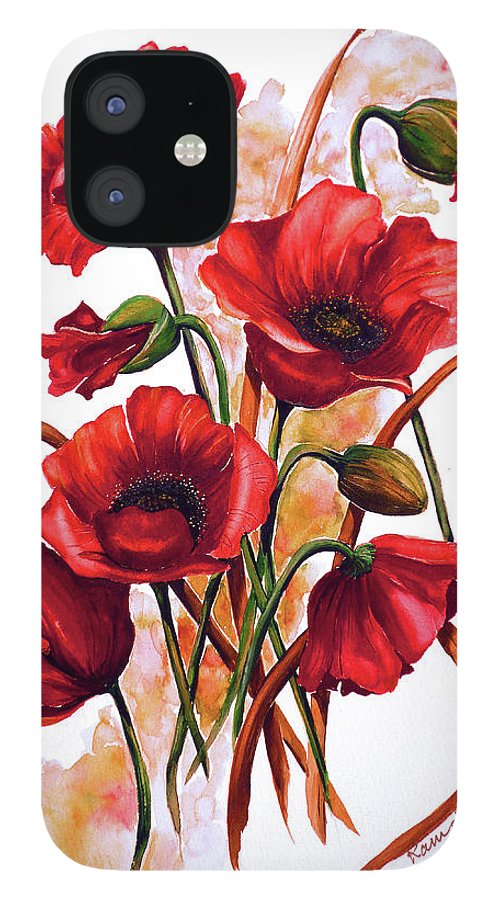 Red Poppies Paintings Floral Paintings Botanical Paintings Flower Paintings Poppy Paintings Field Poppy Painting Greeting Card Paintings Poster Print Painting Canvas Print Painting  IPhone 12 Case featuring the painting English Poppies 2 by Karin Dawn Kelshall- Best