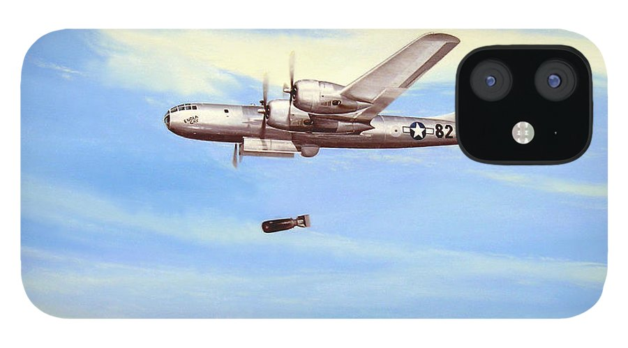 Military IPhone 12 Case featuring the painting Enola Gay by Marc Stewart