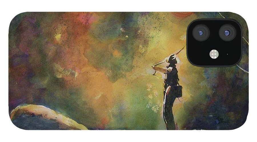 Fly Fishing IPhone 12 Case featuring the painting Evening Cast IIi by Therese Fowler-Bailey