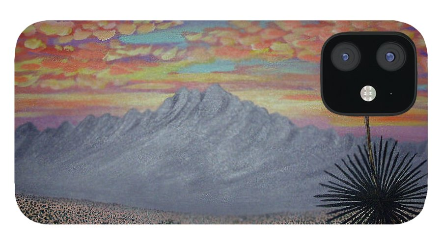 Desertscape IPhone 12 Case featuring the painting Evening in the Desert by Marco Morales