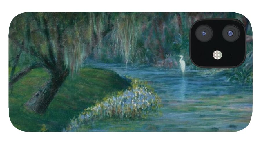 Low Country; Egrets; Lily Pads IPhone 12 Case featuring the painting Evening Shadows by Ben Kiger