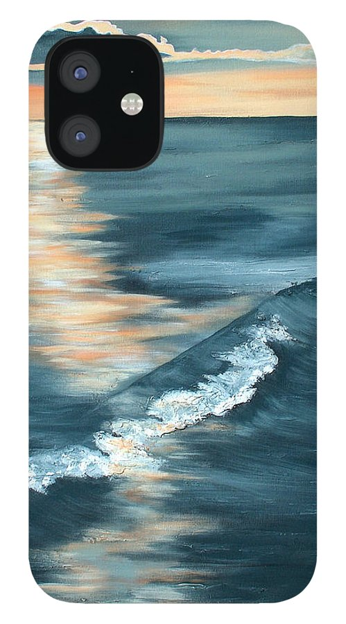 Beach Sunset IPhone 12 Case featuring the painting Evening Sunset by Racquel Morgan
