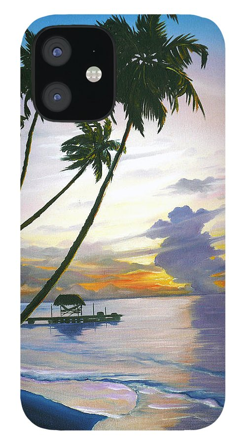 Ocean Painting Seascape Painting Beach Painting Sunset Painting Tropical Painting Tropical Painting Palm Tree Painting Tobago Painting Caribbean Painting Original Oil Of The Sun Setting Over Pigeon Point Tobago IPhone 12 Case featuring the painting Eventide Tobago by Karin Dawn Kelshall- Best