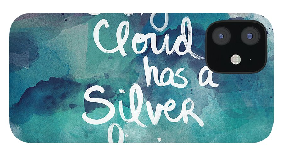 Cloud IPhone 12 Case featuring the painting Every Cloud by Linda Woods
