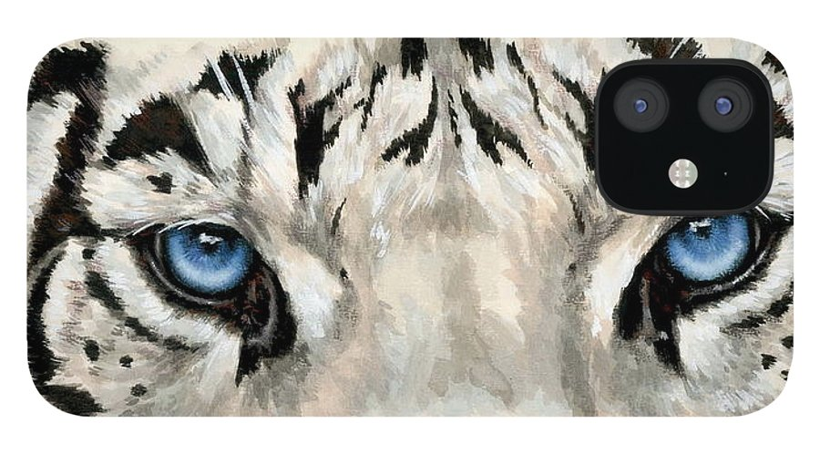 Big Cat iPhone 12 Case featuring the painting Royal White Tiger Gaze by Barbara Keith