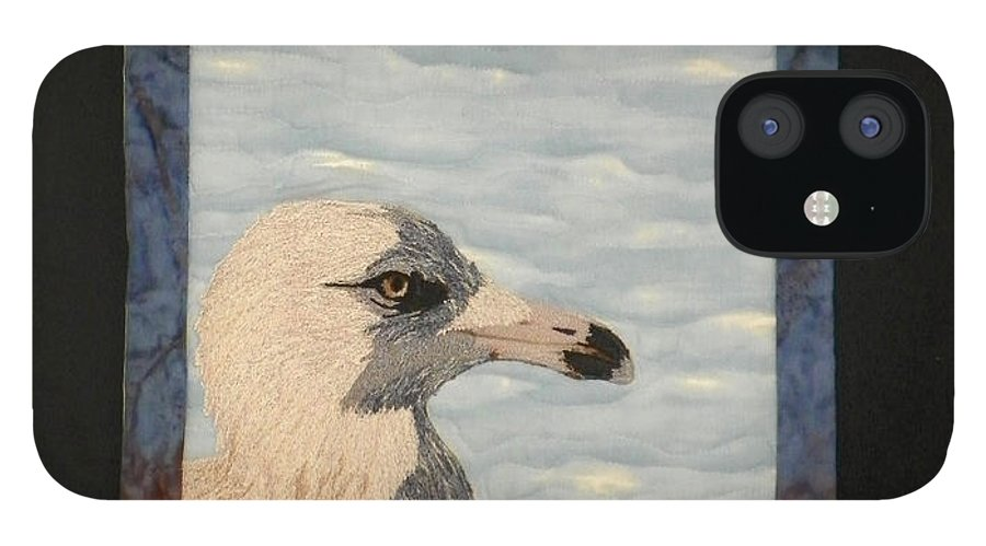 Birds IPhone 12 Case featuring the tapestry - textile Eye Of The Gull by Jenny Williams