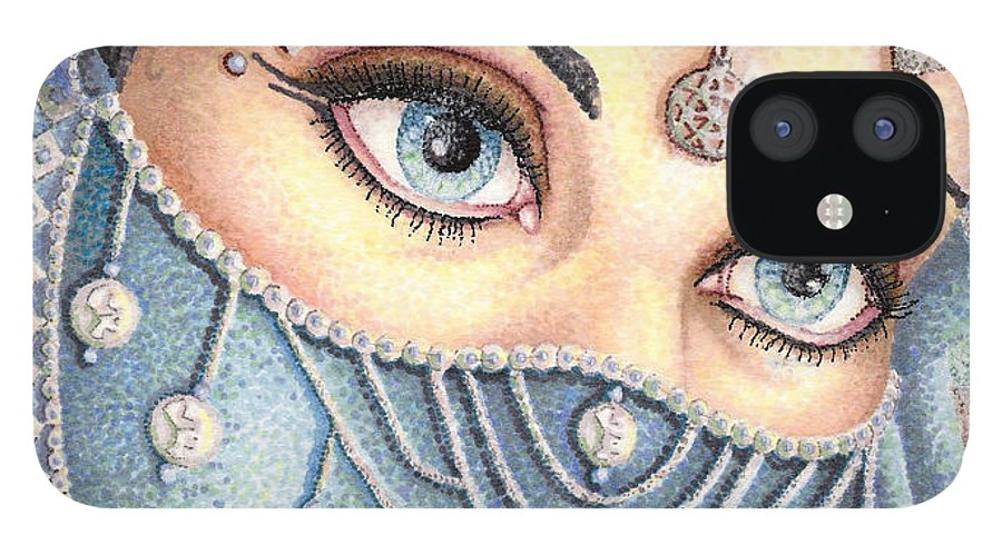 Eyes IPhone 12 Case featuring the drawing Eyes Like Water by Scarlett Royal