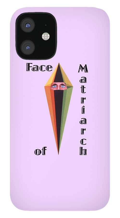 Painting IPhone 12 Case featuring the painting Face of Matriarch text by Michael Bellon