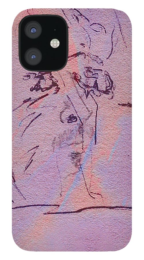 Abstract IPhone 12 Case featuring the mixed media Faces Of Trivia by Steve Karol
