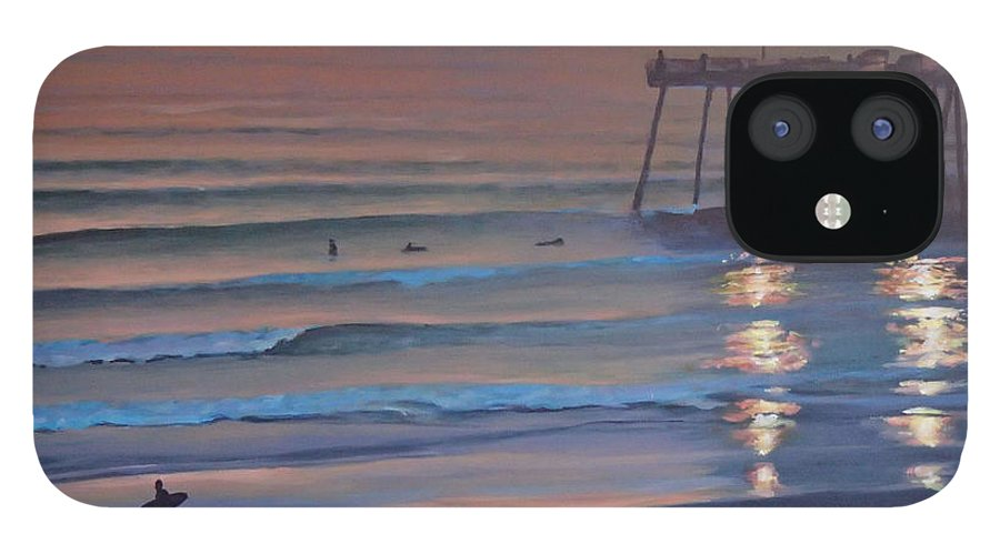 Beach IPhone 12 Case featuring the painting Fading Light by Philip Fleischer