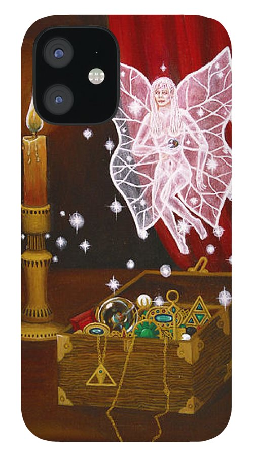 Fairy IPhone 12 Case featuring the painting Fairy Treasure by Roz Eve