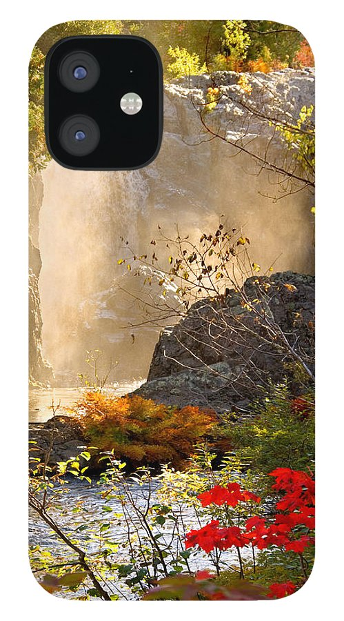 Fall IPhone 12 Case featuring the photograph Fall Falls Mist Dead River Falls Marquette MI by Michael Bessler