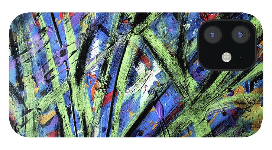 Abstract IPhone 12 Case featuring the painting Fall Haze by Pam Roth O'Mara