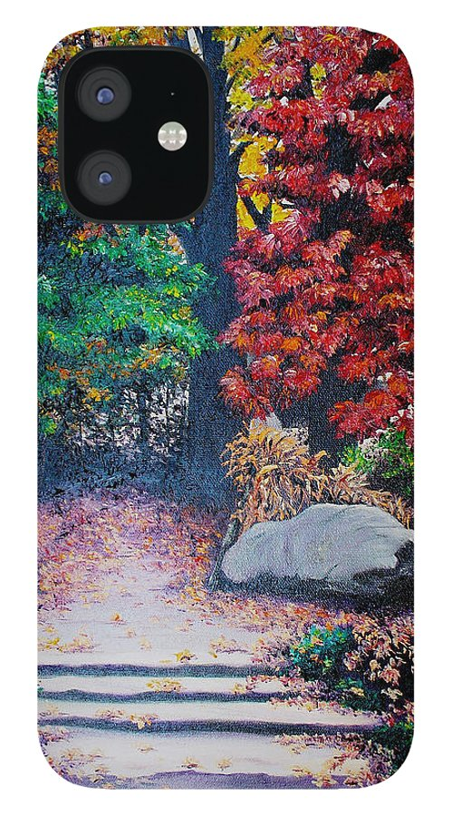 A N Original Painting Of An Autumn Scene In The Gateneau In Quebec IPhone 12 Case featuring the painting Fall In Quebec Canada by Karin Dawn Kelshall- Best