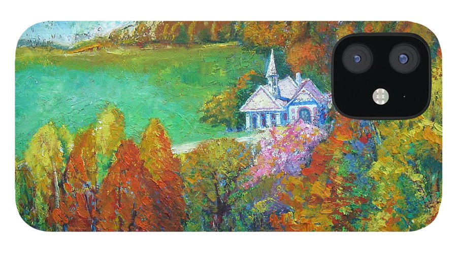 Fall iPhone 12 Case featuring the painting Fall Scene by Meihua Lu