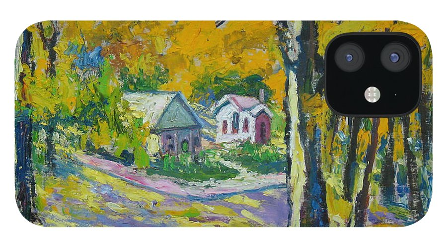 Trees iPhone 12 Case featuring the painting Fall scenery by Meihua Lu