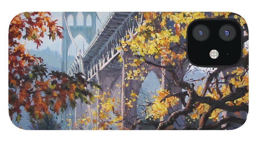 Portland IPhone 12 Case featuring the painting Fall St Johns by Karen Ilari