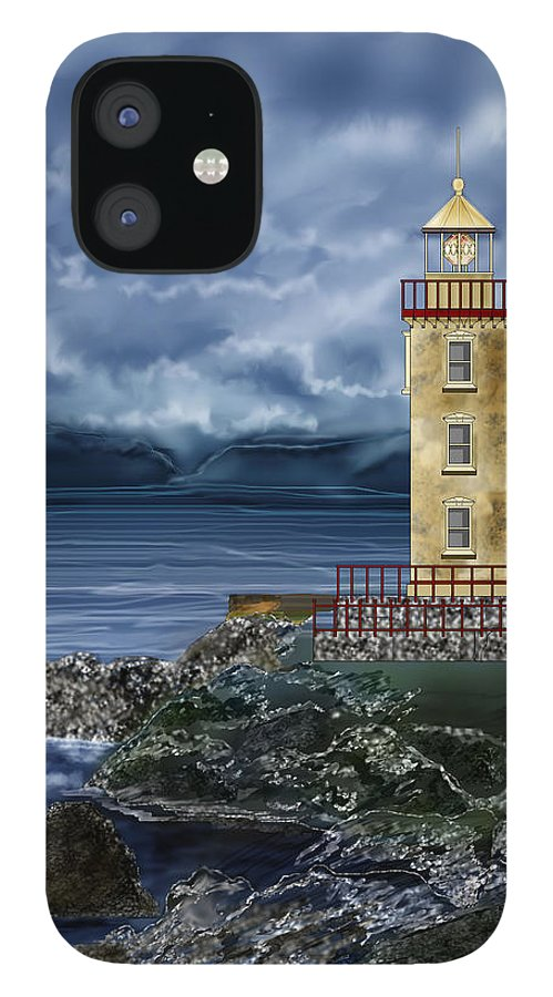 Lighthouse IPhone 12 Case featuring the painting Fanad Head Lighthouse Ireland by Anne Norskog