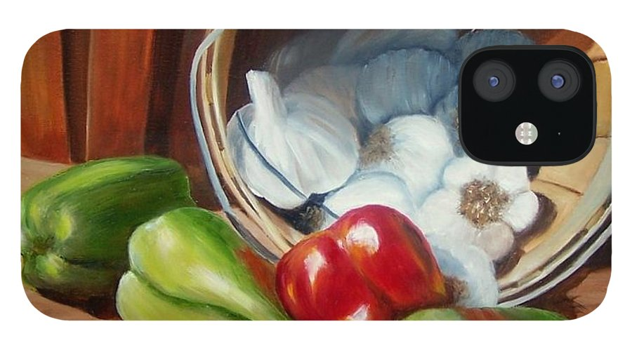 Peppers iPhone 12 Case featuring the painting Farmers Market by Susan Dehlinger