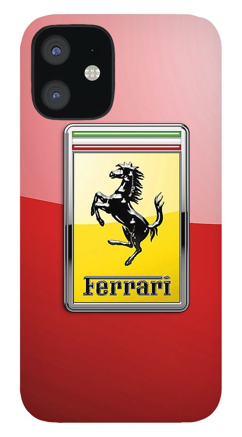 �auto Badges� Collection By Serge Averbukh IPhone 12 Case featuring the photograph Ferrari 3D Badge-Hood Ornament on Red by Serge Averbukh
