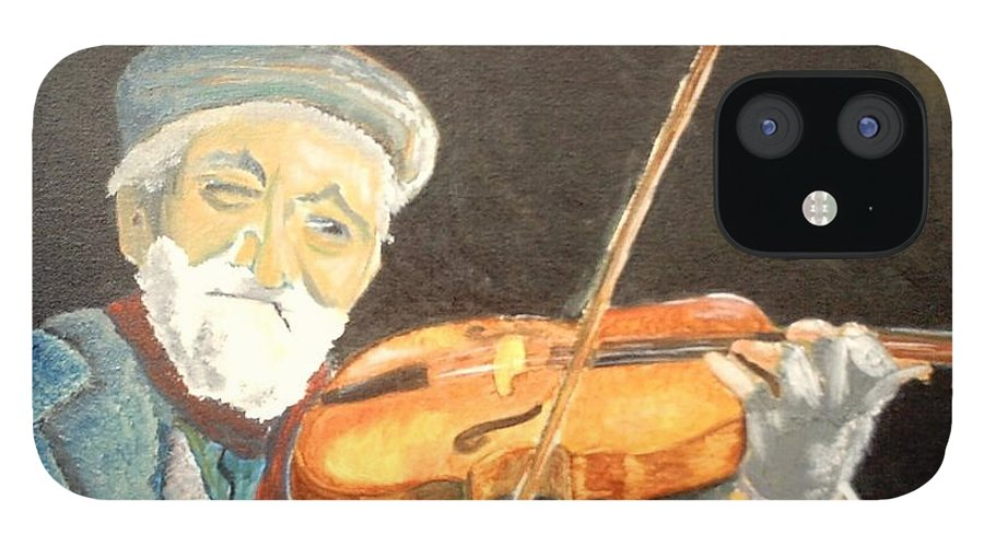 Hungry He Plays For His Supper IPhone 12 Case featuring the painting Fiddler Blue by J Bauer