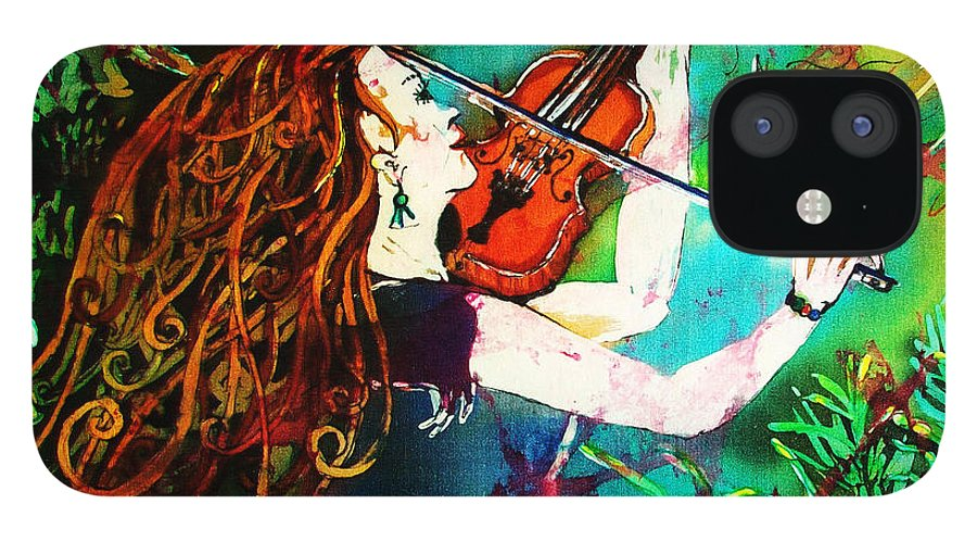 Music iPhone 12 Case featuring the painting Fiddling Toward the Sun by Sue Duda