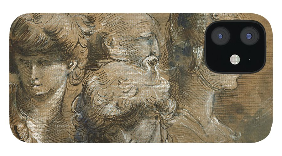 Classic Figures iPhone 12 Case featuring the painting Figures drawing by Juan Bosco