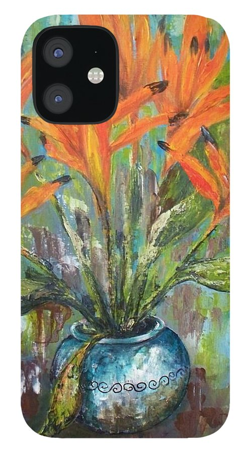 IPhone 12 Case featuring the painting Fire Flowers by Carol P Kingsley