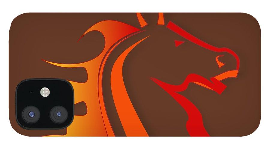 Horse IPhone 12 Case featuring the digital art Fire Horse by Scott Davis
