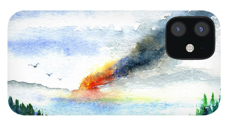 Fire IPhone 12 Case featuring the painting Fire in the Mountains by John D Benson