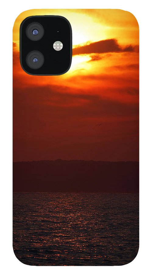 Sunset IPhone 12 Case featuring the photograph Fire in the Sky by Mark Wiley