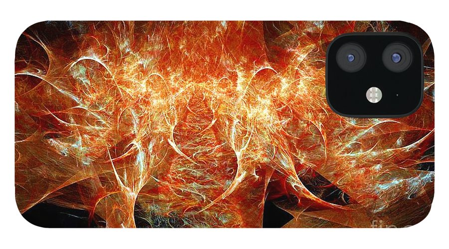 Fractal IPhone 12 Case featuring the digital art Fire Storm by Ron Bissett