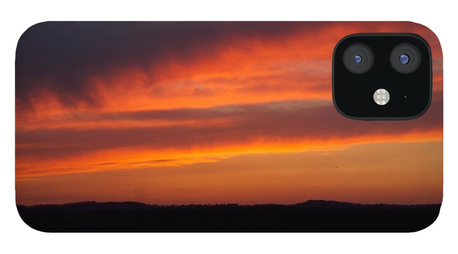 Red Sunset IPhone 12 Case featuring the photograph Firey Skies by Toni Berry