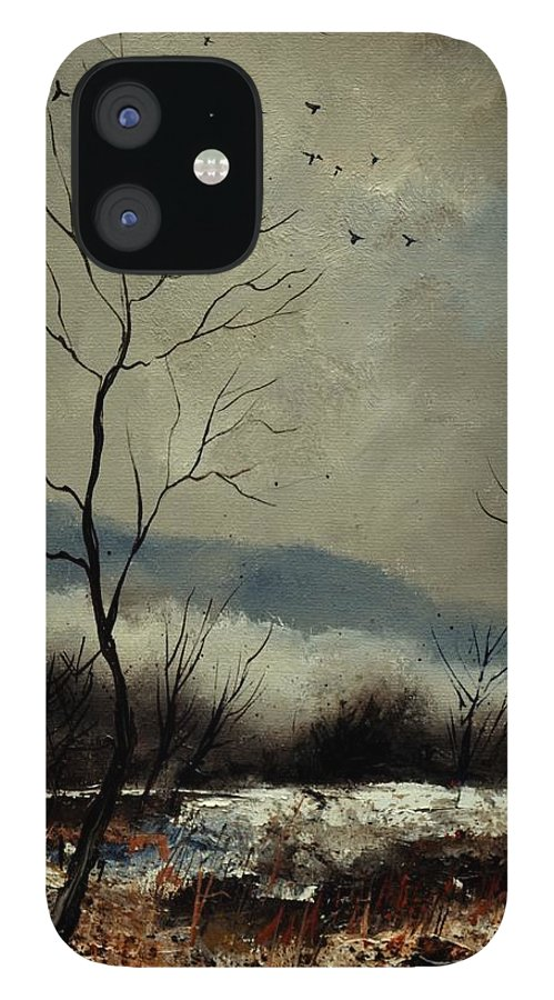 Landscape IPhone 12 Case featuring the painting First snow in Harroy by Pol Ledent