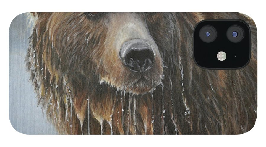 Grizzly Bear IPhone 12 Case featuring the painting Fish Story-Up for Air by Tahirih Goffic