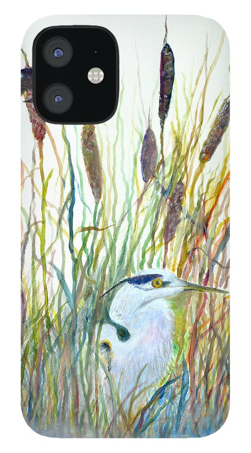 Fishing IPhone 12 Case featuring the painting Fishing Blue Heron by Ben Kiger