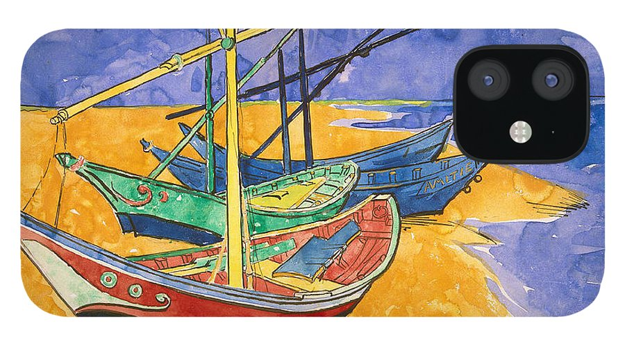 Vincent Van Gogh IPhone Case featuring the painting Fishing Boats on the Beach at Saintes Maries de la Mer by Vincent Van Gogh