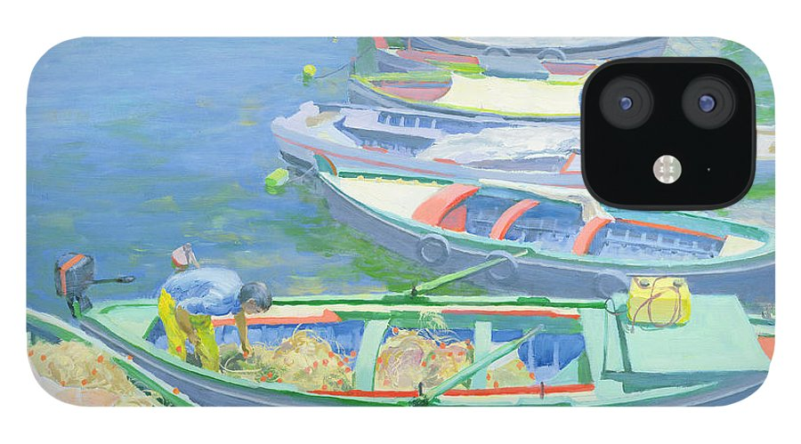 Rowing Boats IPhone 12 Case featuring the painting Fishing Boats by William Ireland