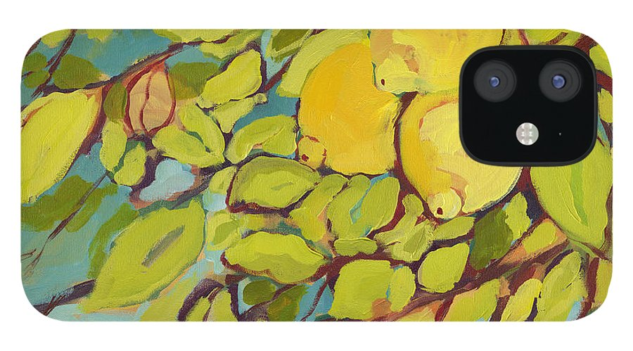 Lemon IPhone 12 Case featuring the painting Five Lemons by Jennifer Lommers