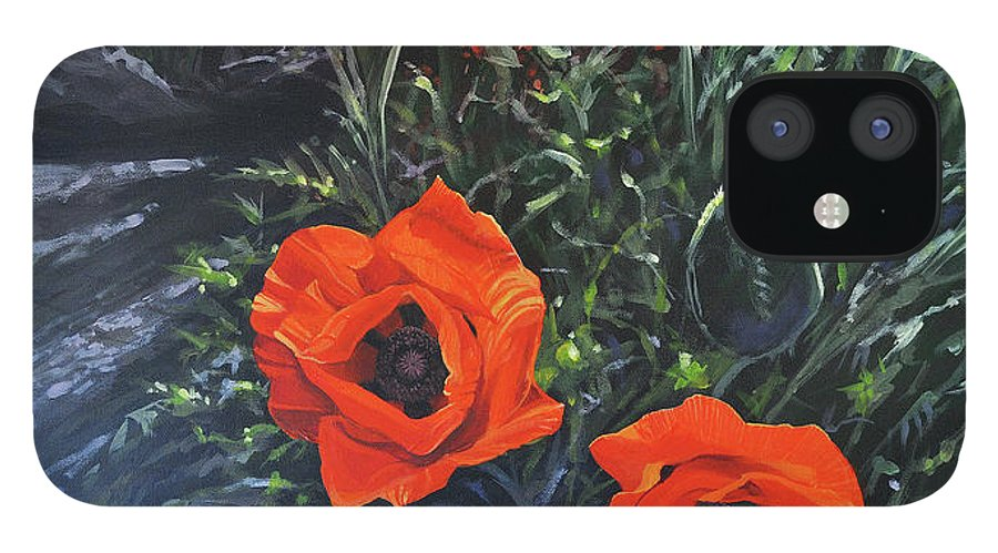 Poppy IPhone 12 Case featuring the painting Flame of the West by Hunter Jay