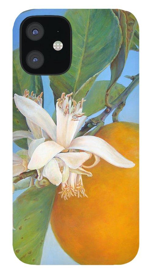 Floral Painting IPhone 12 Case featuring the painting Fleurs d oranges by Muriel Dolemieux