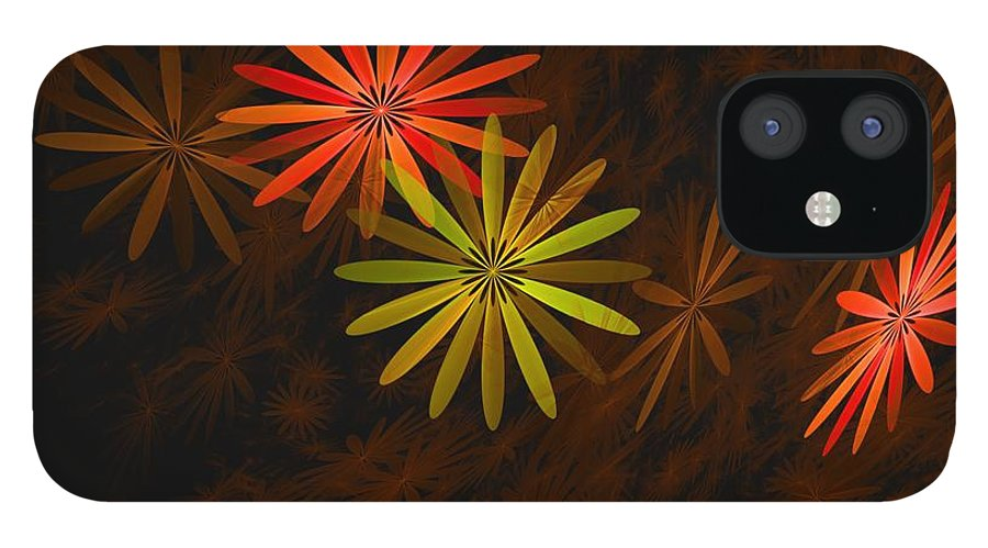 Digital Photography IPhone 12 Case featuring the digital art Floating Floral-008 by David Lane