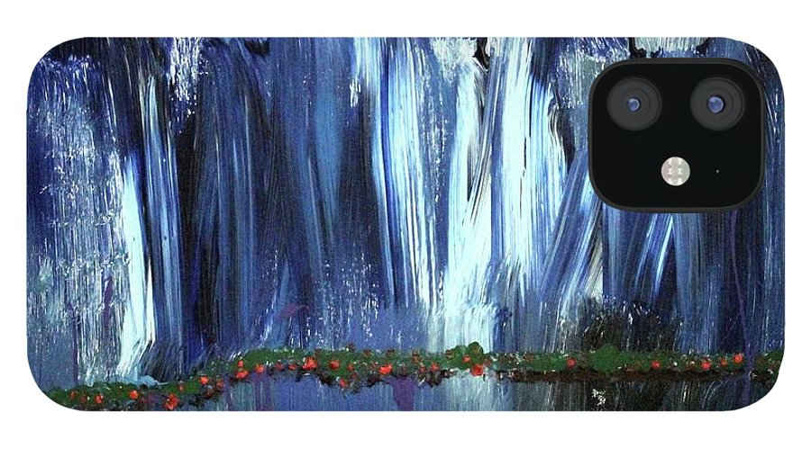 Blue IPhone 12 Case featuring the painting Floating Gardens by Pam Roth O'Mara