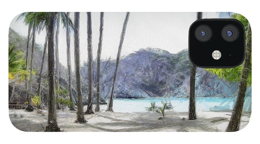 Landscape IPhone 12 Case featuring the painting Florida beach by Murphy Elliott