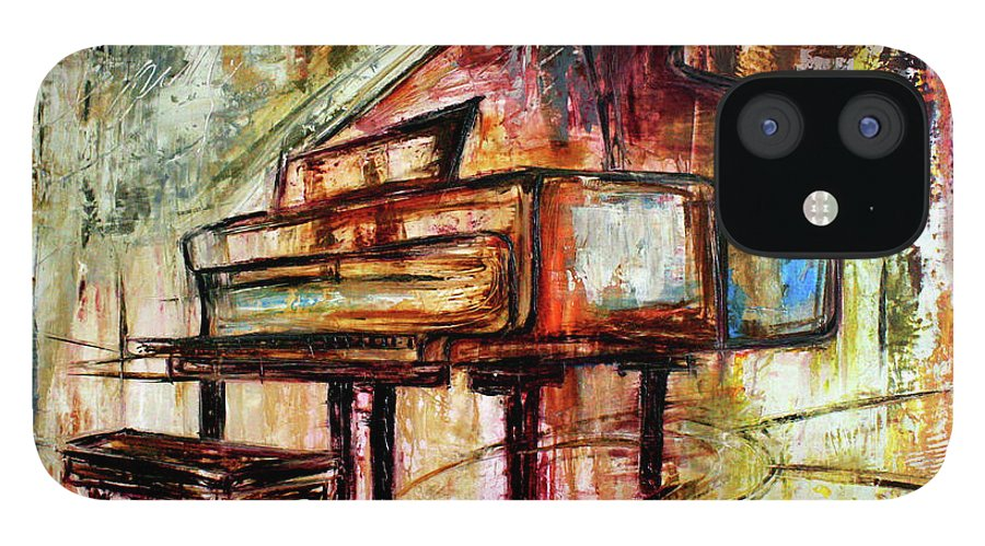 Music IPhone 12 Case featuring the painting Flowing Notes by Ivan Guaderrama