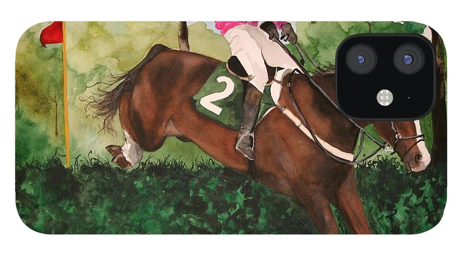 Horse IPhone 12 Case featuring the painting Flying High by Jean Blackmer